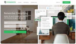 Evernote call to action on website