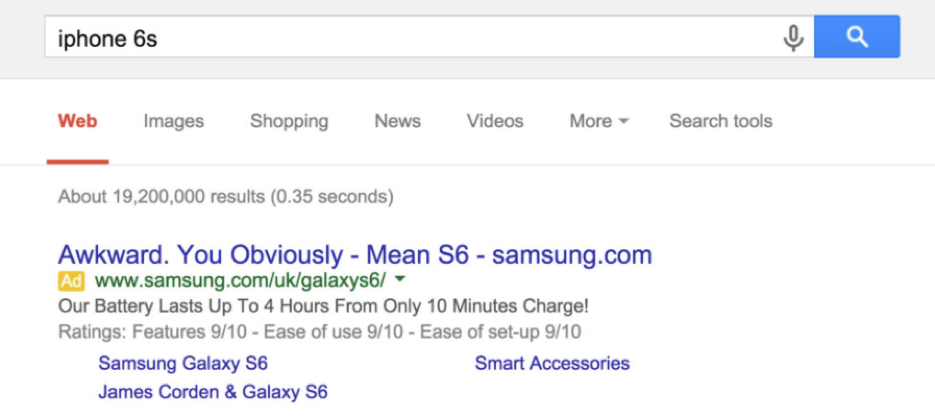 Adwords Campaign Samsung vs Iphone