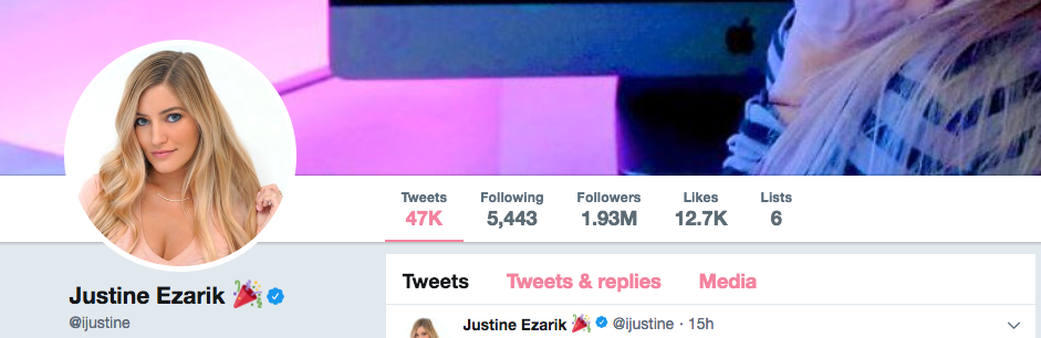Justine Ezarik Twitter