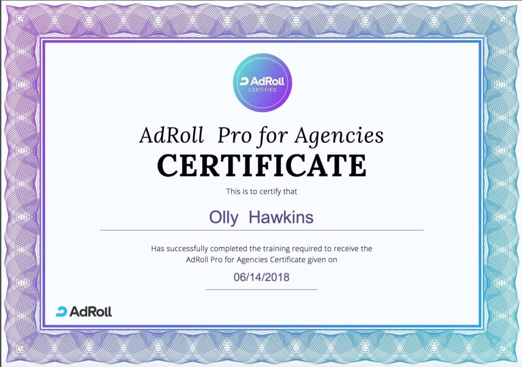 Olly Adroll certificate
