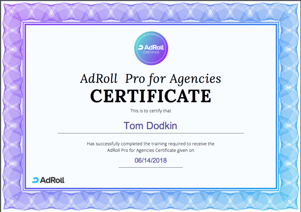 Tom Adroll certificate