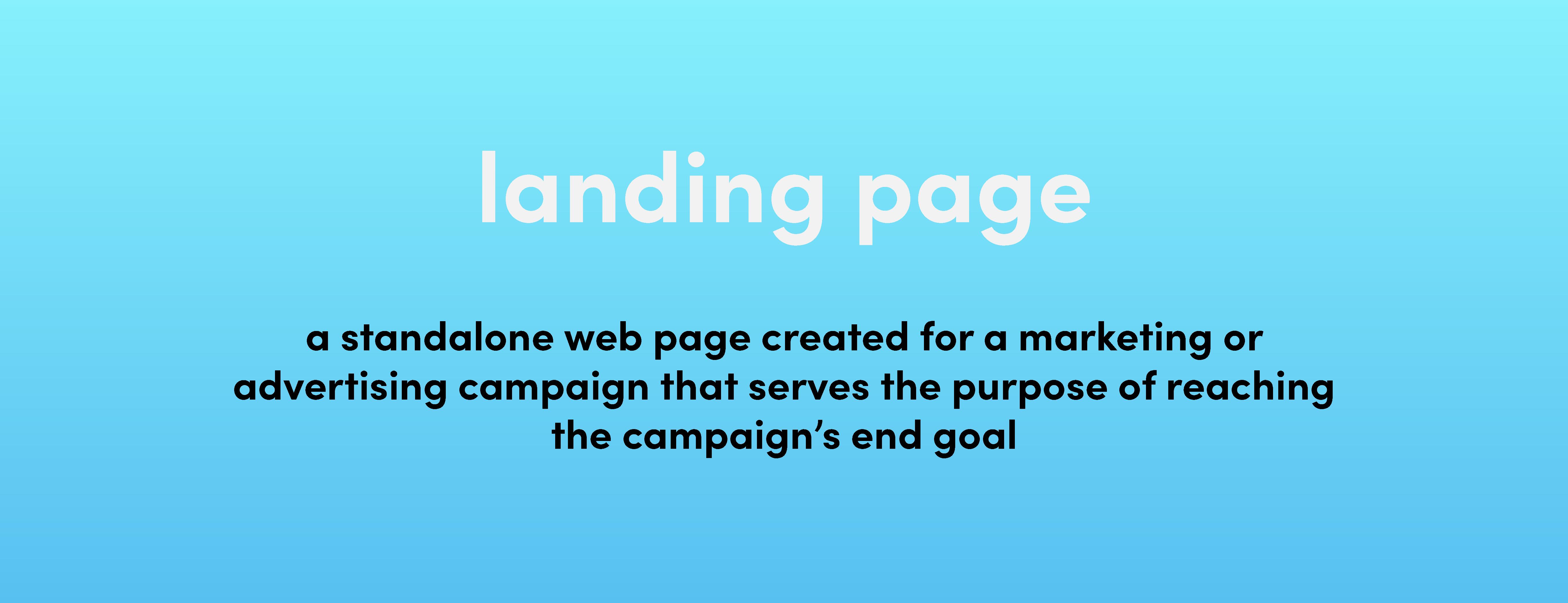 landing page definition on blue backgroud