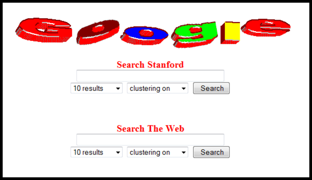 Google search engine in 1996