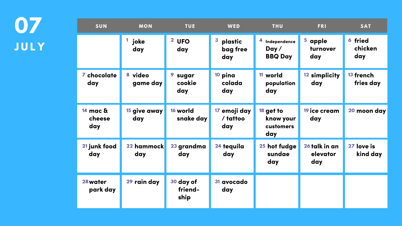 July social media holiday calendar - Bulldog