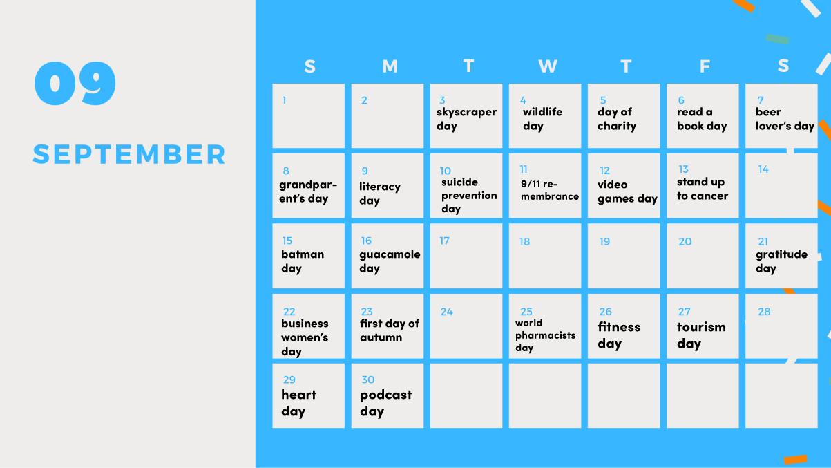 social media holiday calendar september 2019