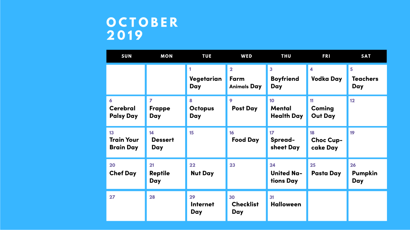 Calendar with octobers social media holidays