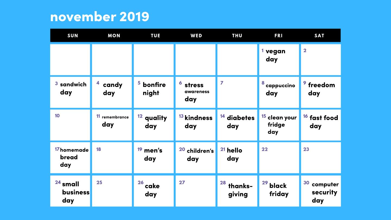 November 2019 social media holidays calendar