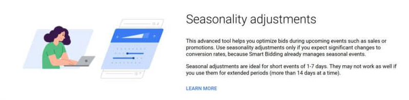 Definition of seasonality adjustments with animation of woman on laptop