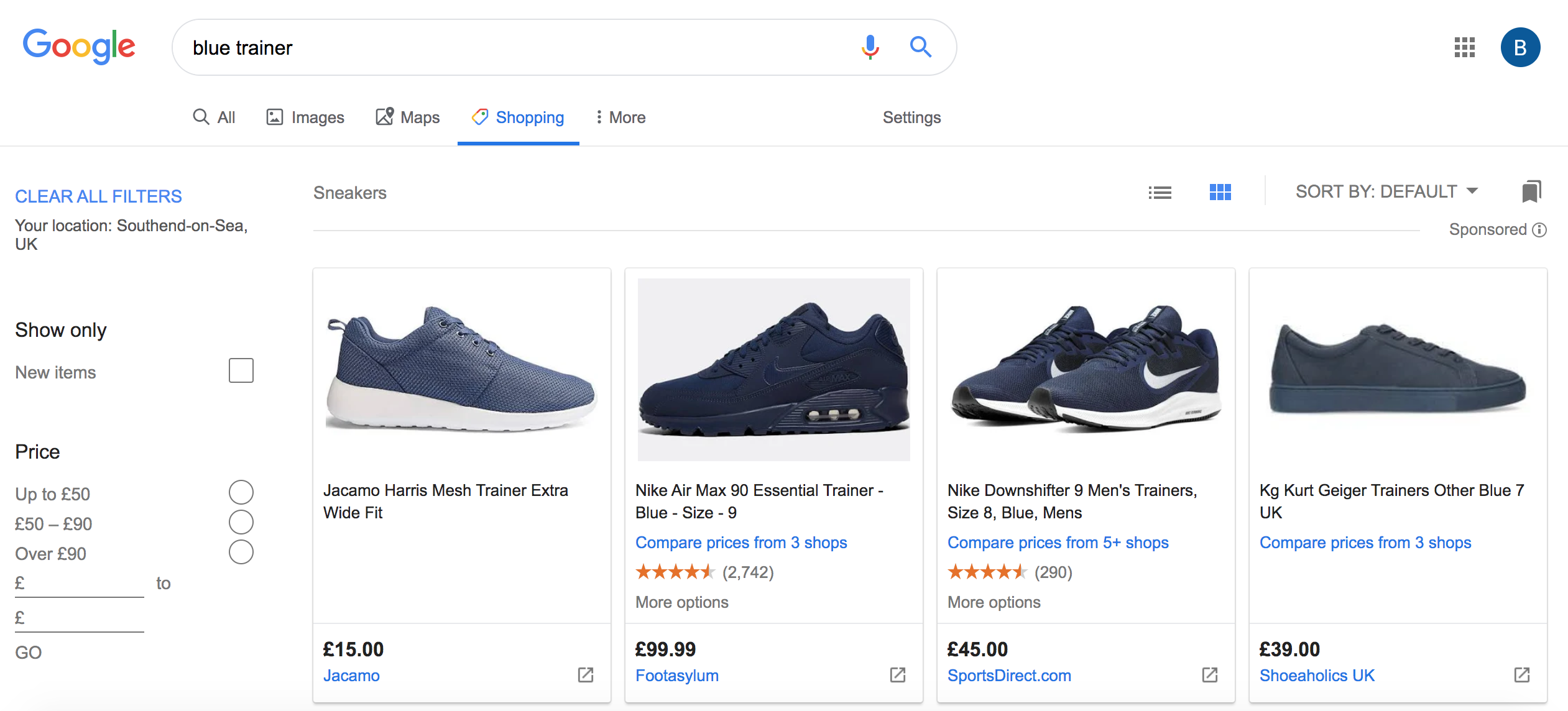 example of a google shopping ad