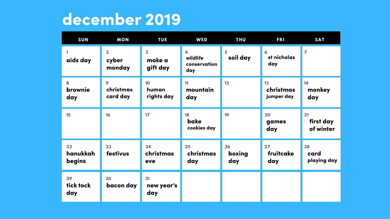 December 2019 social calendar