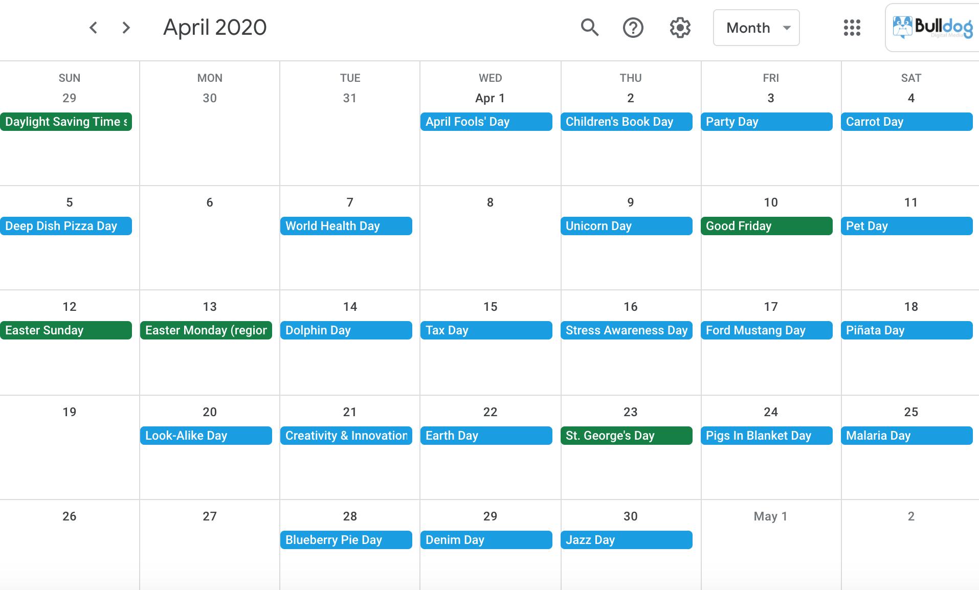 April 2020 social media holidays calendar