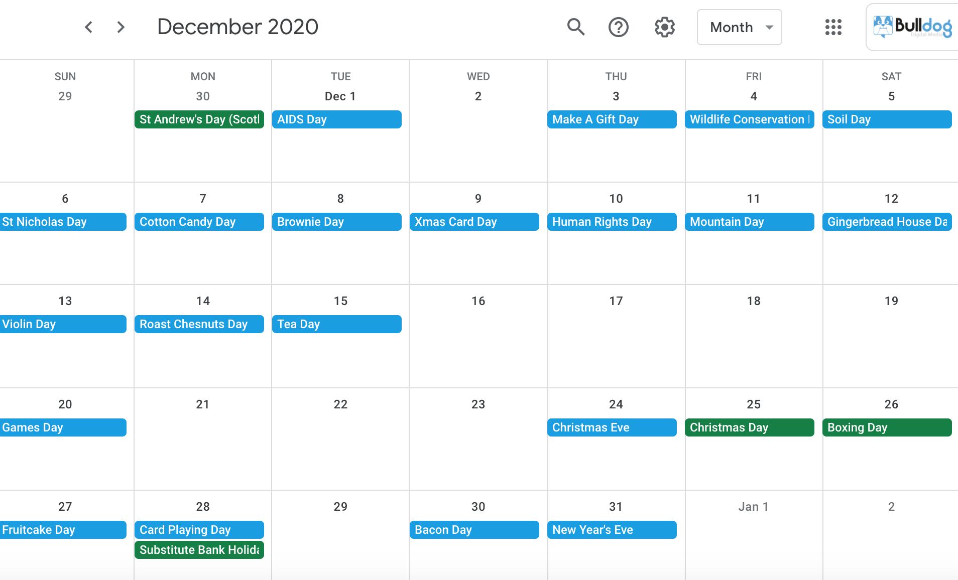 December 2020 social media holidays