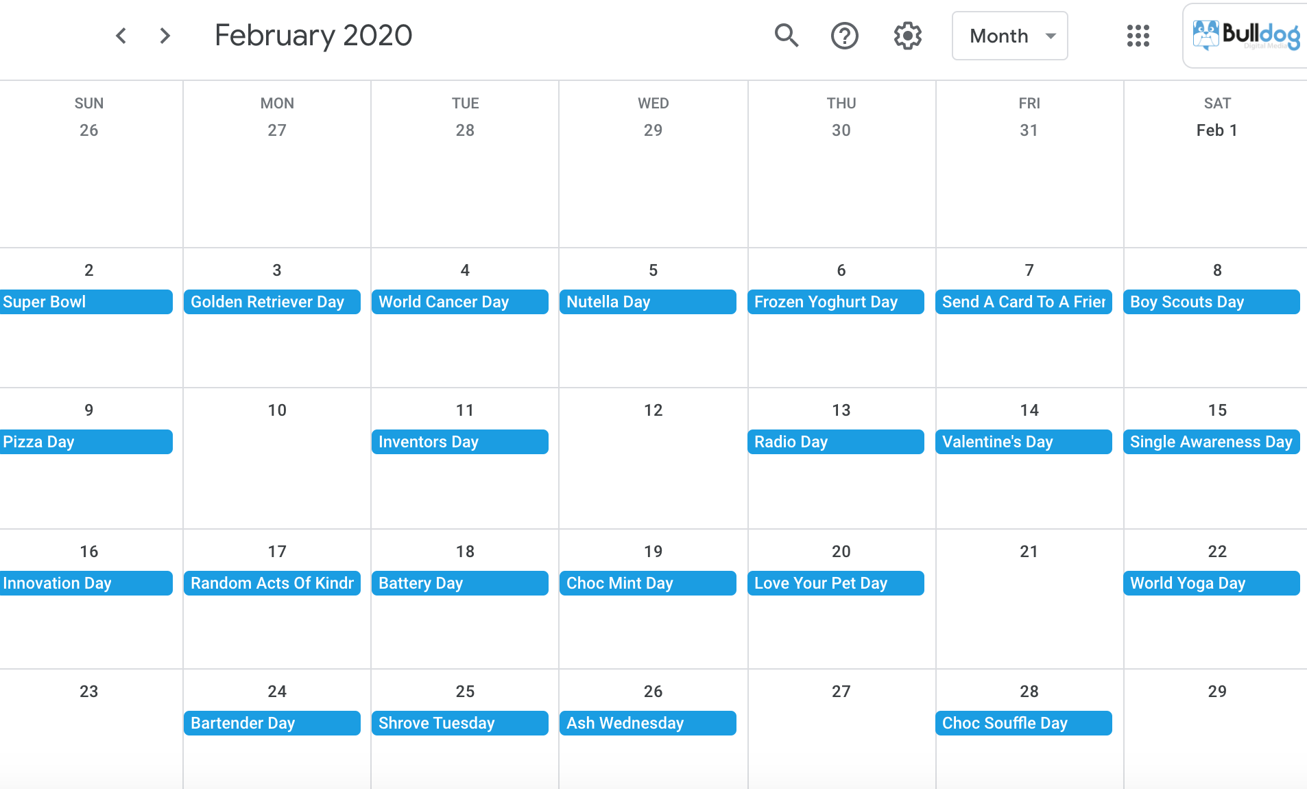 February 2020 social media holidays calendar