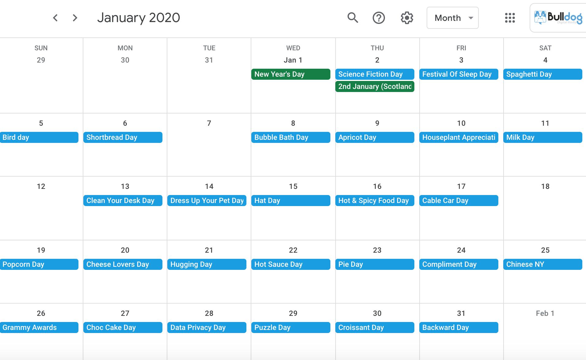 January 2020 social media holidays calendar