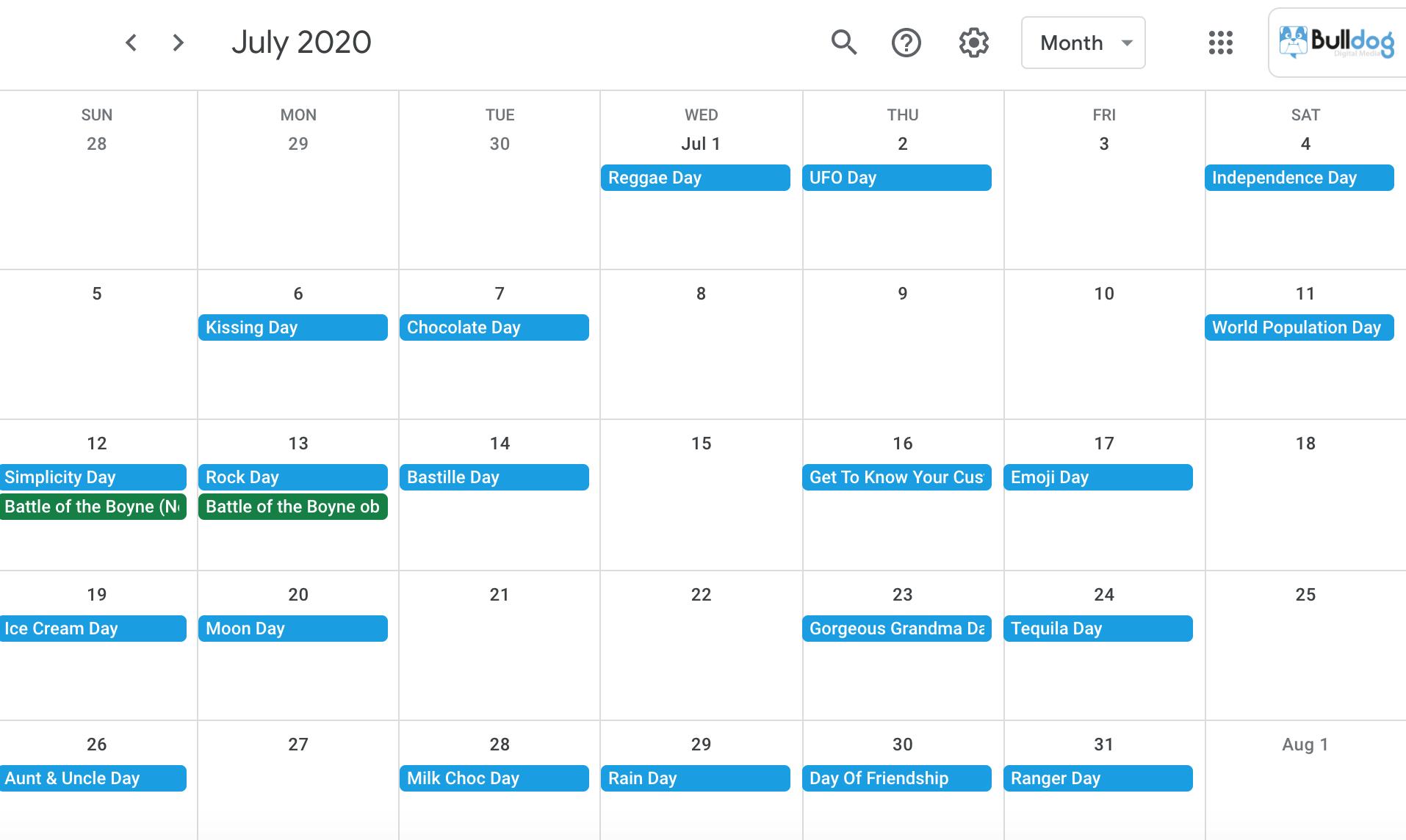 July 2020 social media holidays calendar