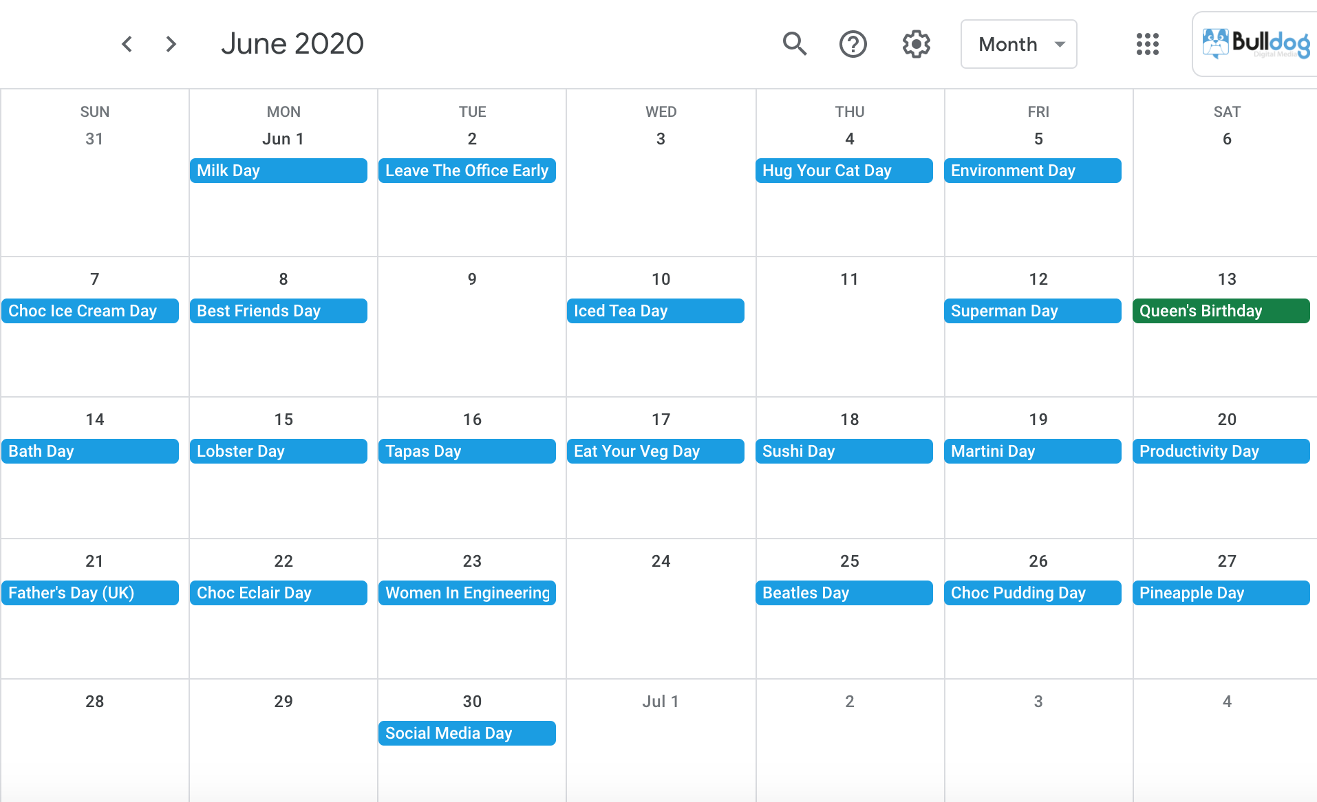 June 2020 social media holidays calendar