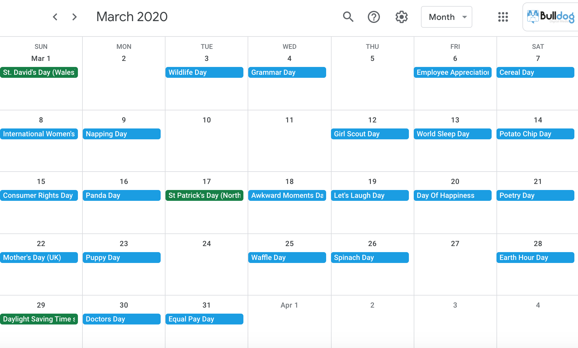 March 2020 social media holidays calendar