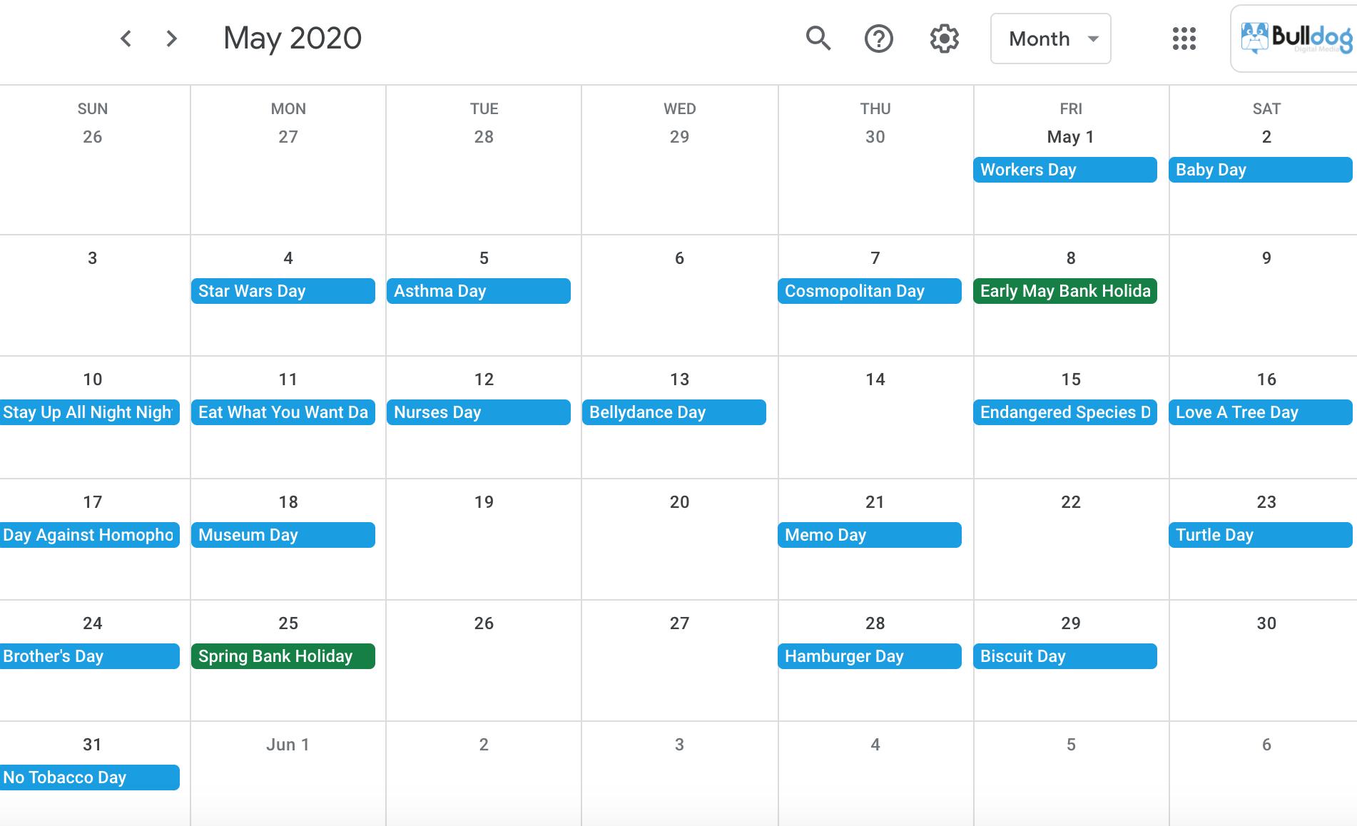May 2020 social media holidays calendar
