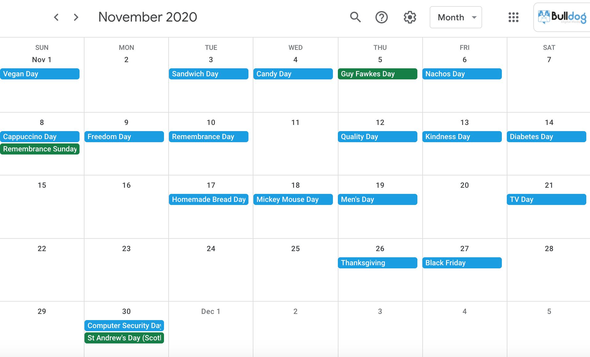 November 2020 social media holidays