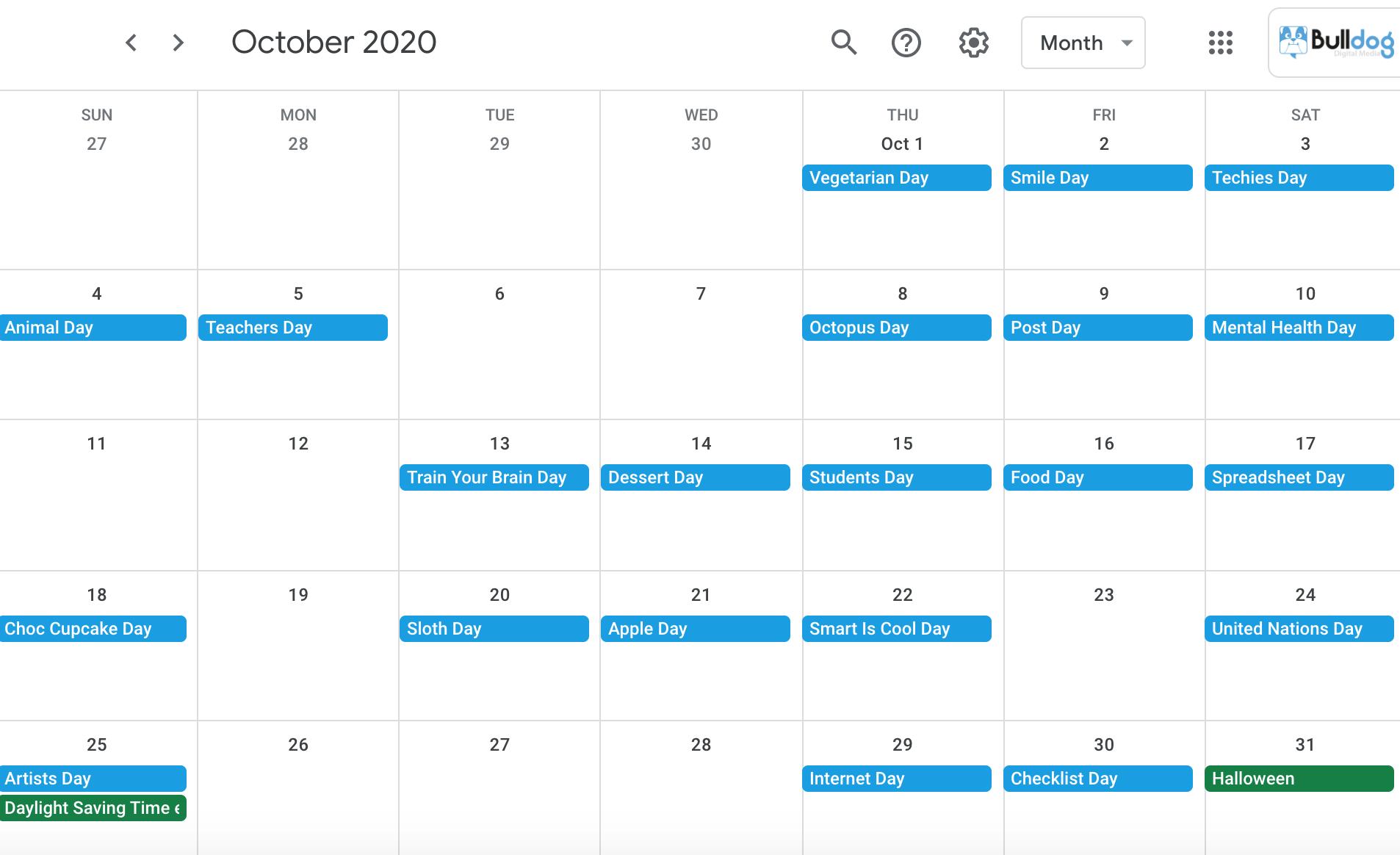 October 2020 social media holidays calendar