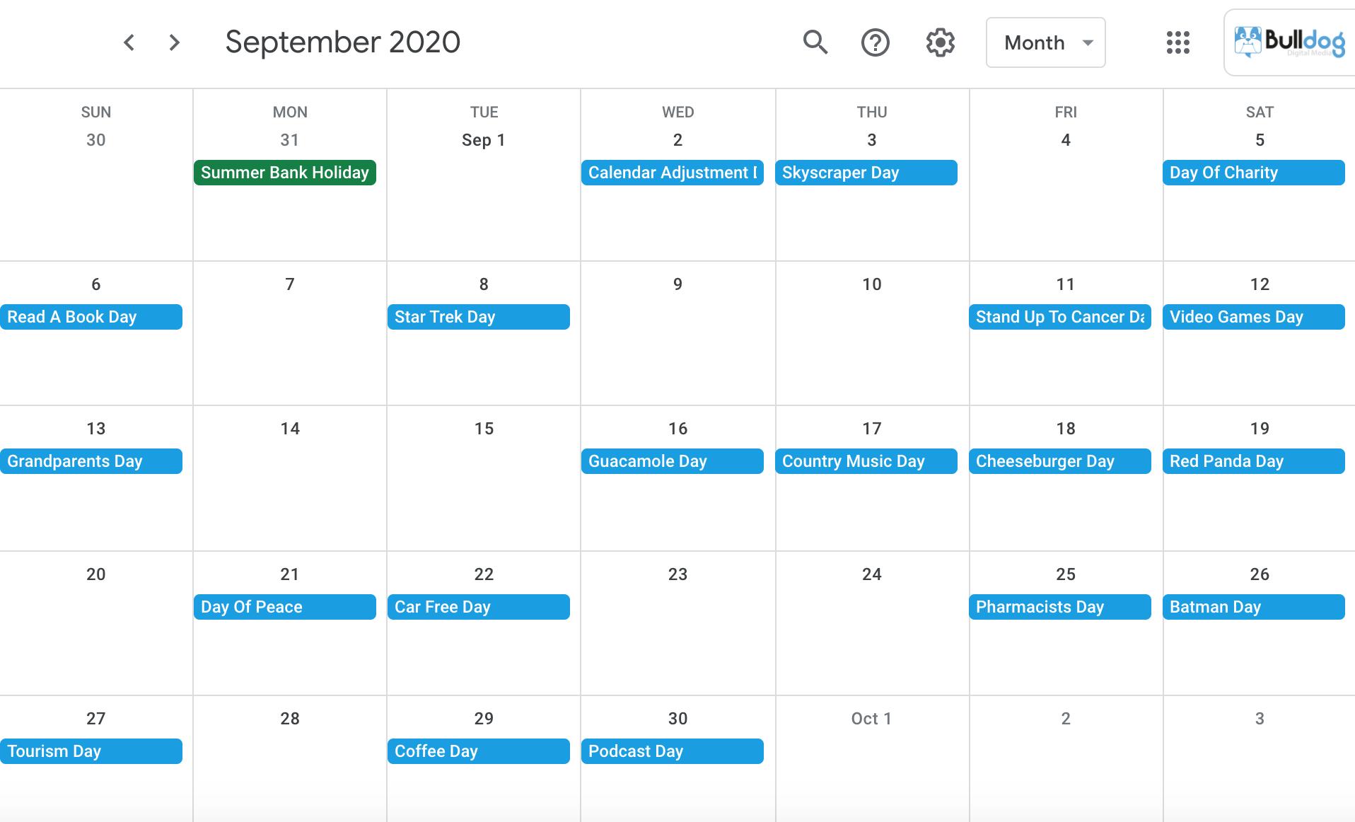 September 2020 social media holidays calendar