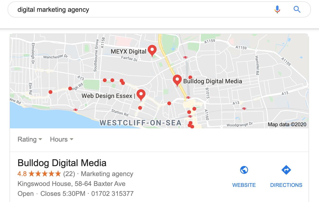Bulldog Digital Media Google Maps Listing