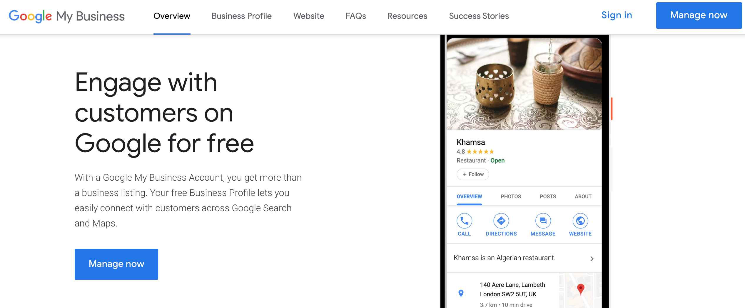 Google My Business Home Page